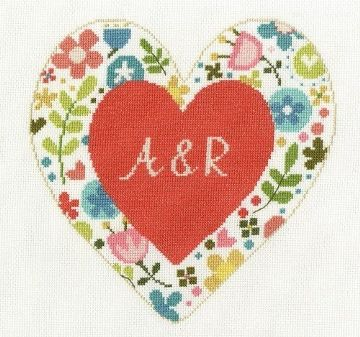 DMC Flowered Forms -Personalised Heart Cross Stitch Kit BK1673